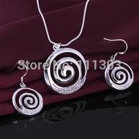 A A A 925 silver jewelry set , love silver necklace + earrings set ,Jewelry Girls' Women Female Jewelry