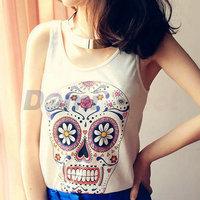 Women sexy cool Skeleton Cami Tank fashion skull print vest tops sleeveless shirt