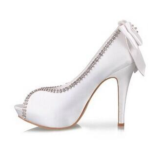 Minitoo GYTH13138 Womens Stiletto High Heel Peep Toe Satin Sparkle Evening Party Bridal Wedding Rhinestone Bowknot Sandals Shoes(China (Mainland))
