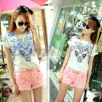 2014 New women Vintage Trendy Symmetrical Porcelain Print T Shirt Floral Pattern Back V-neck Chiffon T-Shirt