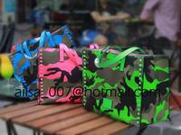 High Quality Luxury Brand Designer Totes Genuine Leather Women Handbag Camouflage Rivet Shoulder Bag For Women size30*28*13CM