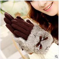 The newest winter 2014  fashion bowknot rabbit fur wrist  fur multicolor warm wool gloves-G055