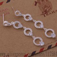 LX-AE511 925 sterling silver earrings , 925 silver fashion jewelry , three loops inlaid stone /fjkaoara colalfsa