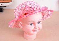 free shipping 2014 Butterfly lace edge children's hat summer baby hat visor caps wholesale