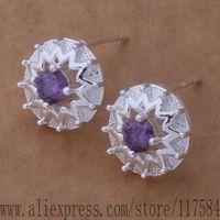 LX-AE620 925 sterling silver earrings , 925 silver fashion jewelry , carriage wheel inlaid stone /fnmaoeta csnaljua