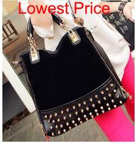 2014 new women leather handbags work casual scrub rivet bag women shoulder bag women messenger bags women handbag totes bags