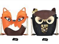 Fashion women leather handbags women's shoulder bags women messenger bags cartoon owl fox Crossbody Bags totes Evening Bags