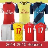 FC #17 ALEXIS Jerseys 14/15 Home Red A+++ 100% Thailand 2015 Soccer Jerseys Yellow Blue #11 OZIL WALCOTT  Ramsey Sanchez Jersey