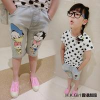 Children's clothing summer water wash cartoon thin jeans flower girl's capris kids shorts fashion kids pants
