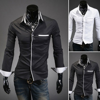 Hot Wholesale 2014 New Winter Men's Casual Long-sleeved Slim Shirt Personality Mens Dress Shirts CS915