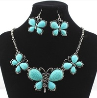 Fashion Jewelry 2014,Supernova Sale sliver butterfly shape necklace,Nepal national vintage necklace set for women