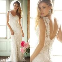 Elegant 2014 New V Neck Lace Backless Mermaid White Ivory Bridal Wedding Dresses Gown Custom All US Size 4 6 8 10 12 14 16 18 20