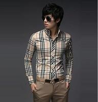 2014 New Fashion Casual Grid long-sleeved mens shirts, Fashion Leisure styles shirt
