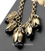 New Fashion Resin Stone Black Flower Jewelry Alloy Fashion New Arrival Copper Women Necklace Jewlery