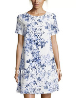 Prom New Fashion Ladies' elegant vintage Bule& white floral print dress O neck short sleeve slim casual dress brand design