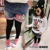 Children's clothing flower kids trousers spring cartoon shebian denim shorts + girls legging autumn children's shorts