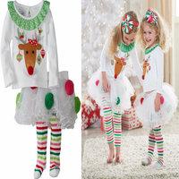 Retail+New 2014 Fashion children chirstmas clothing set,baby gift,Xmas elk T-shirt+pantskirt,Girls lovely clothes,2-6Y