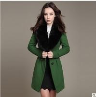 2014 Winter European Women New Fashion temperament Slim woolen coat fur collar trench coat warm outerwear C1904
