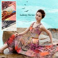 Sexy Leopard Print 100%Silk Chiffon Fabric   135CM*100CM  6Mommie  3Colors