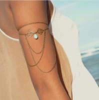 Upper Arm Cuff Arm Chain Hollow auspicious pendant Armlet Bracelet Chain Water Drop Turquoise tassel Arm chain Jewelry Armband