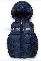 Free shipping 5pcs/lot fashion brand boys girls fur vest hooded children outwear coat  fin stock