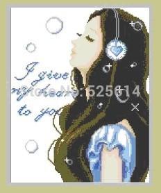 2014new Top Quality Needlework 3D DIY Diamond Painting the girl listening to music 38cm*48cm(China (Mainland))