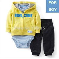 3pcs/set,Lastest 2014 NEW Carter's Baby Boy Handsome Hooded Yellow Cardigan Zip Set Infant Jacket Clothing Suit 3m, YW