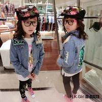 2014 new children's denim outerwear spring and autumn jackets fashion kids cartoon coat paillette kids garment