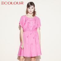 Sauteeded summer sweet gentlewomen 2014 solid color short-sleeve dress s142407l20 female