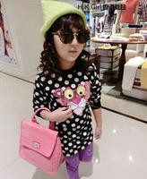 2014 new little tiger hoodies flower girl's sequins stereo tiger long sweatshirts fashion polka dot dress black kids wear