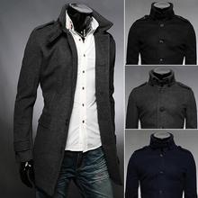 Free shipping 2014 new winter men's singles breasted jacket badges woolen coat coat(China (Mainland))