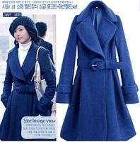 2014 JR0015 New Arrival Hot Sale Charming Elegant Fashionable New Women's Winter Fashion Korea Style Winter Long Coat Blue