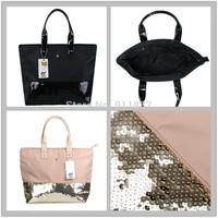New Classic 2014 Women Handbag Bags Sequins Patchwork Shoulder Bag Tote Bags Black Beige