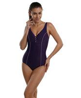 La Isla One Piece Slimming Pro Swimwear Swimsuit Black Purple EU 36-52