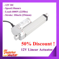 """50% Discount From US Auto Express! 12V Heavy Duty 10""""/ 254mm Stroke, Max Load 1000N/ 225lbs Electric Linear Actuator"""