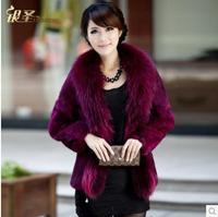 Rabbit fur winter coat women raccoon fur collar fashion desigual casual cardigans casacos femininos 2014 clothing overcoat W203