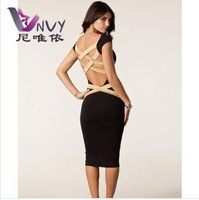 Women summer bandage dress fashion desigual 2014 evening party sexy & club dress cotton black vestidos casual free shipping W227