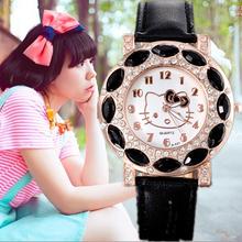 2014 vacaciones venta nueva llegada baratos encantadores niñas hello kitty niños mujeres reloj de pulsera de cristal moda infantil reloj de regalo.(China (Mainland))