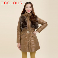 Sauteeded women's winter new arrival luxury fur elegant down coat twinset