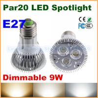 DHL Free NEW High Quality LED Light PAR 20 9W Spotlight E27 socket lamp bulbs 110V 220V Cool White Warm White CE Rohs Dimmable