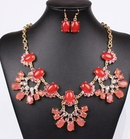 Fashion Jewelry Sets Hight Quality Red&Blue Color Resin Beads Womman Dress Chocker Collar Free Shipping Wedding Jewelry