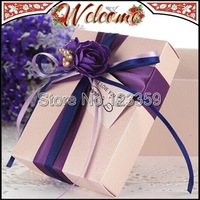 30PCS Purple European Style Candy Box Wedding box Flower Wedding decoration Wedding party Wedding favors and gifts box 7*8.5*4cm