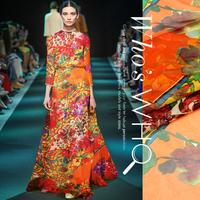 Orange Flower Print 100%Silk Chiffon Fabric  135CM*100CM  6Mommie