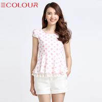 M sauteeded 2014 summer polka dot print lace high waist a short-sleeve chiffon shirt female