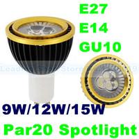 DHL Free Par20 9W 12W 15W E27 E14 GU10 Dimmable Led Light Bulb Lamp High Power Energy Save Spot light