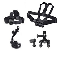 Gopro Accessories 4 in 1 Chest Strap + Head Strap+Handlebar Seatpost + Car Suction Cup For GoPro Hero 1 2 3 3+ sj4000 Camera