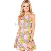 New arrival Fashion summer digital print three-color jacquard women dress cute hollow out o-neck sexy dress sleeveless dresses