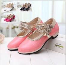 Zapatos zapatos de baile zapatos nuevos zapatos de la princesa de la edición europea niñas otoño 2014 tacones altos(China (Mainland))