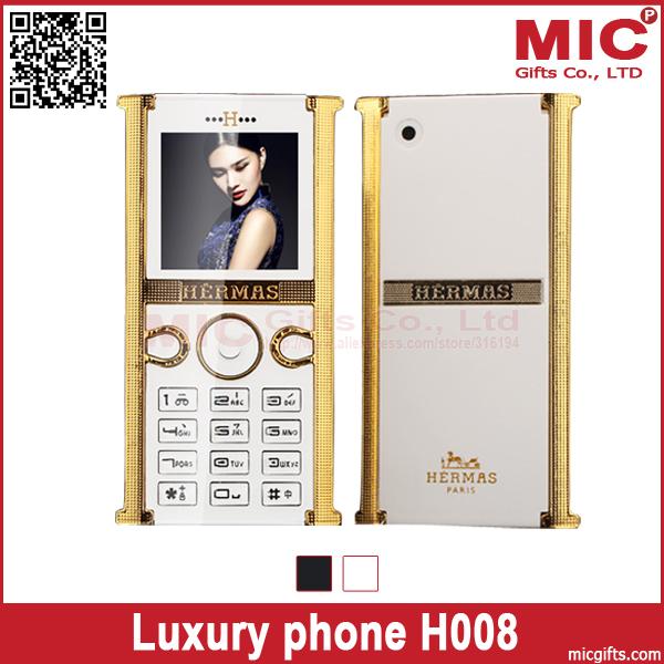 2014 Flip unlocked Stainless Steel metal edge luxury women girls lady cute cell mobile music phone H008 P302(China (Mainland))