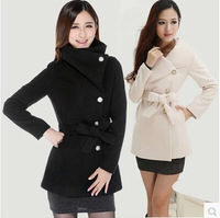 Autumn and Winter Fashion Women Jacket Belt, Slim Ladies Overcoat with Single Breasted, Fashion Wool Coat with Lapels and Belt